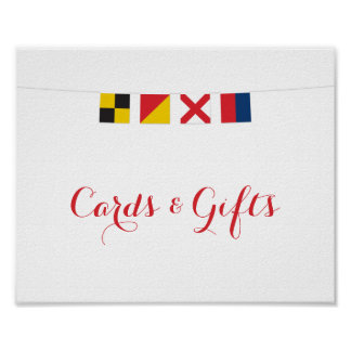 Nautical LOVE Flags Cards and Gifts Sign Poster