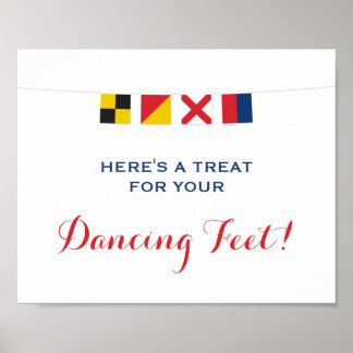 Nautical LOVE Flags Dancing Feet Sign Poster