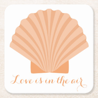 Nautical Love Orange Seashell Beach Wedding Party Square Paper Coaster