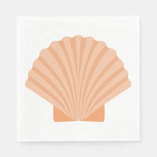 Nautical Love Seashell Orange Coral Wedding Party Paper Napkins
