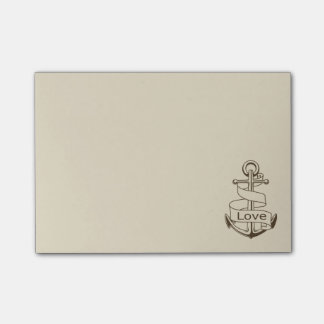 Nautical Love Ship Anchor Tan - Sailor, Sea, Ocean Post-it Notes