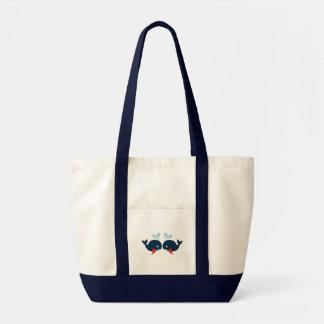Nautical Love Whales Fish Love - Navy Sailor Beach Tote Bag