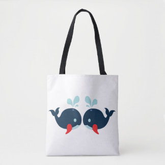 Nautical Love Whales Fish Love - Navy Sailor Beach Tote Bag