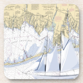Nautical Map Great South Bay New York coasters. Coaster