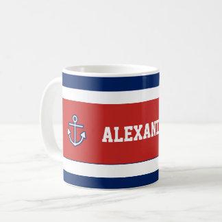 Nautical Marine Navy Blue White Stripes Coffee Mug