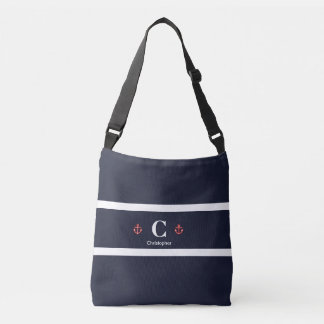 Nautical Marine Navy Blue White Stripes Crossbody Bag