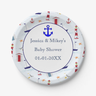 Nautical maritime mix illustration baby shower paper plate