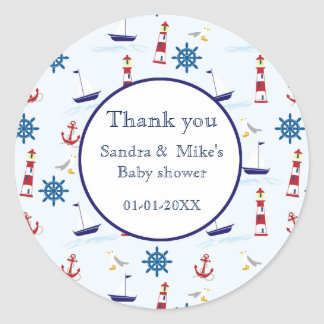 Nautical maritime mix illustration classic round sticker