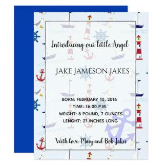 Nautical maritime new baby announcement