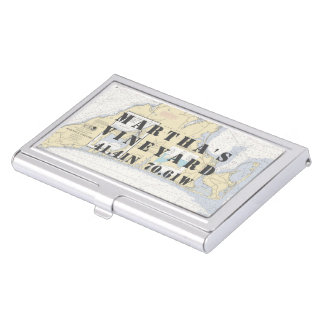 Nautical Martha's Vineyard Latitude Longitude Business Card Holder