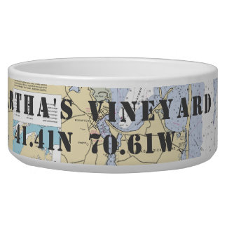 Nautical Martha's Vineyard Latitude Longitude Dog Water Bowl