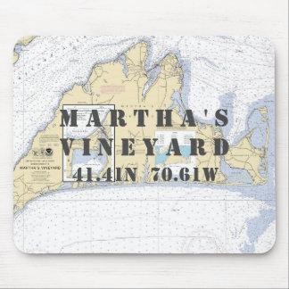 Nautical Martha's Vineyard Latitude Longitude Mouse Pad