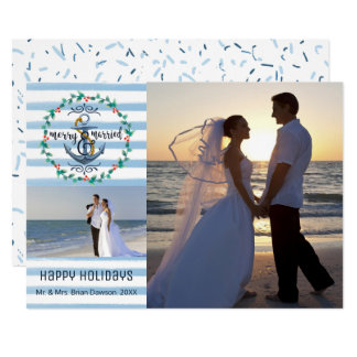 Nautical Merry & Married, Blue Stripes, Two Photos Card