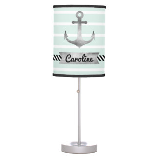 Nautical Mint Green Stripes Anchor Personalized Table Lamp