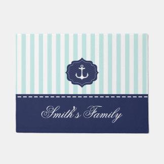 Nautical Mint Navy Blue Anchor Custom Name Doormat
