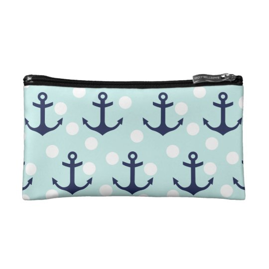 Nautical Mint Polka Dots And Navy Blue Anchors Cosmetic Bag