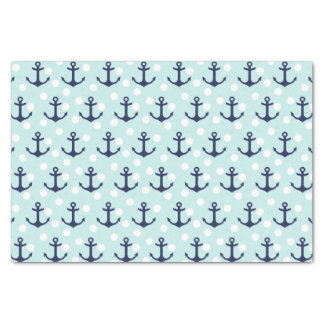 Nautical Mint Polka Dots And Navy Blue Anchors Tissue Paper