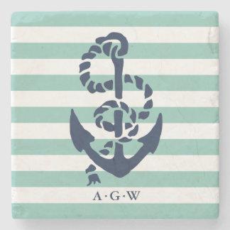 Nautical Mint Stripe & Navy Anchor Monogram Stone Coaster