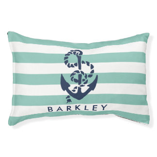 Nautical Mint Stripe Navy Anchor Personalized Pet Bed
