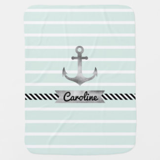 Nautical Mint  Stripes, Anchor and Custom Name Receiving Blanket