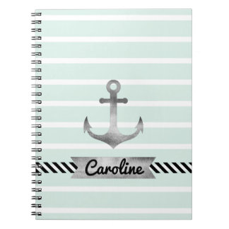 Nautical Mint Stripes Watercolor Anchor Custom Notebooks