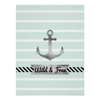 Nautical Mint Stripes Watercolor Anchor Custom Poster