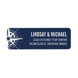 Nautical Modern Compass Return Address Label