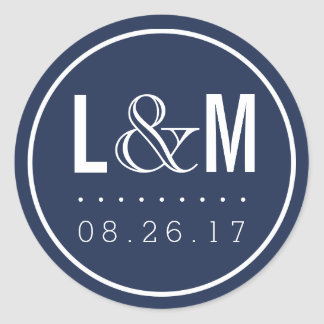 Nautical Modern Navy Wedding Monogram and Date Round Sticker