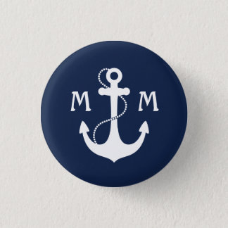 Nautical Monogram 1 Inch Round Button