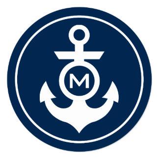 """Nautical Monogram 5.25"""" Square Invitation Card"""