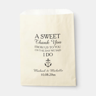 Nautical Monogram Anchor Wedding Candy Bar Buffet Favour Bag