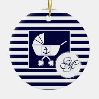 Nautical monogram baby ceramic ornament
