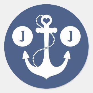 Nautical Monogram Round Sticker