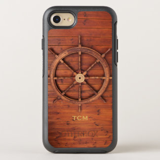 Nautical Monogram Ship Captain's Wooden Helm Wheel OtterBox Symmetry iPhone 8/7 Case