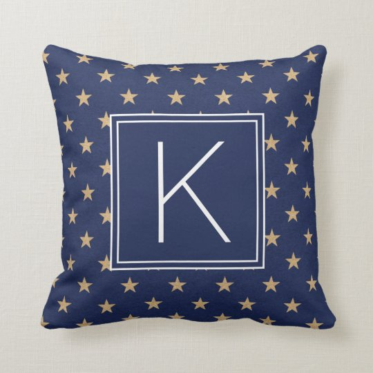 Nautical Monogram Stars Throw Pillow