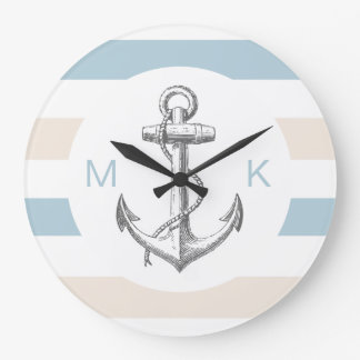Nautical Monogram Wall Decor Clocks
