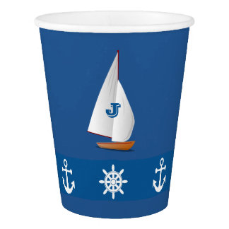 Nautical Monogramed design in Blue|White stripe Paper Cup
