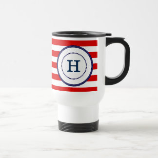 Nautical Monogrammed Travel Mug