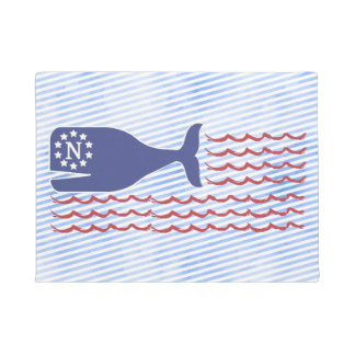 Nautical Nantucket Whale Flag Blue Stripe Doormat