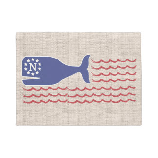 Nautical Nantucket Whale Flag Tan Jute Doormat