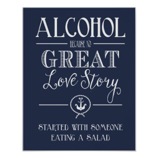 Nautical Navy Alcohol  love story print