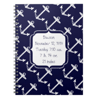 Nautical Navy Anchor Pattern Spiral Notebooks