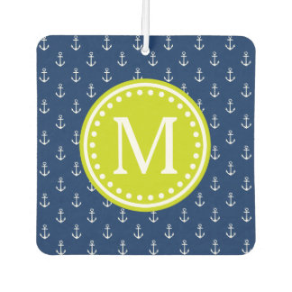 Nautical Navy and Lime Anchor Monogram Air Freshener
