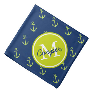 Nautical Navy and Lime Green Anchor Monogram Head Kerchief