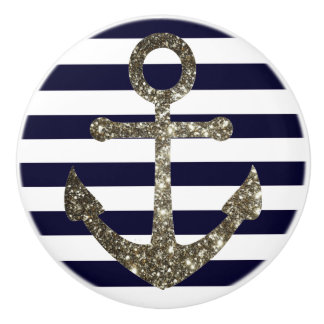 Nautical Navy and White Anchor Drawer Knobs