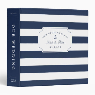 Nautical Navy and White Stripe | Wedding Planning Vinyl Binder