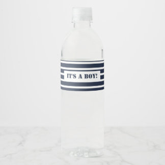 Nautical Navy and White Stripes It's a Boy Water Bottle Label
