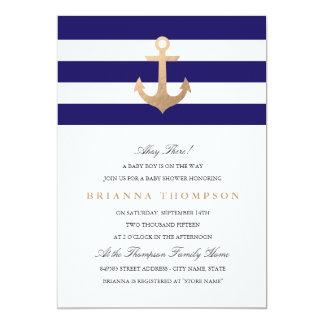 "Nautical Navy Baby Shower 5"" X 7"" Invitation Card"