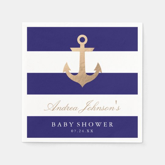 Nautical Navy Baby Shower Disposable Napkin