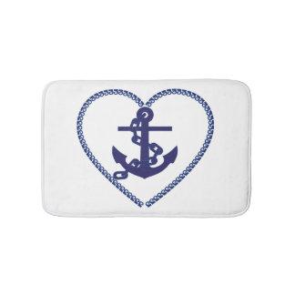 Nautical Navy Blue Anchor Bath Mat